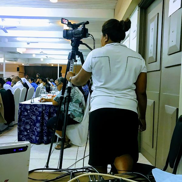Christine filming at the Roman Catholic Synod meeting back in June 2019